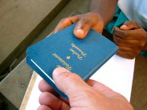 blue gideon bible