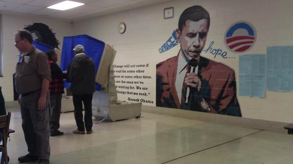 Philadelphia Poll Placed Next to Massive Barack Obama 'Hope and Change' Mural