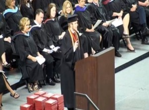 Valedictorian Roy Coster ripped up his graduation speech and recited the Lord's Prayer in defiance of the discontinuation of prayer at the ceremony.