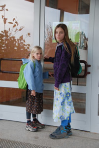 The two younger Wunderlich children attending government school.