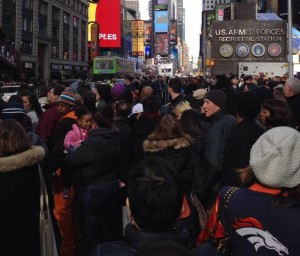 The masses fill the New York City streets on Super Bowl weekend.