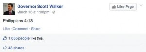 Walker's Facebook status on Sunday.