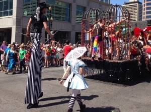 Underwear-clad men dance in cages at 2014 Utah pride parade. Photo: Facebook