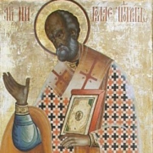 St. Nicholas, as painted on the Kizhi monastery in Russia.