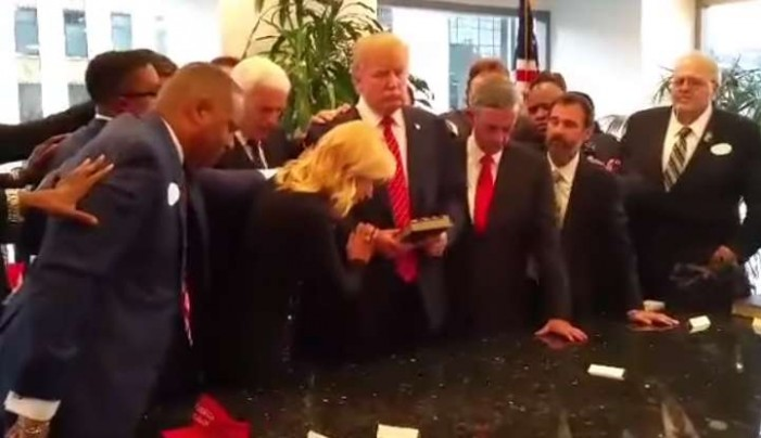 Video Shows 'Prosperity' Preachers Kenneth Copeland, Paula White Laying Hands on Donald Trump for Presidency
