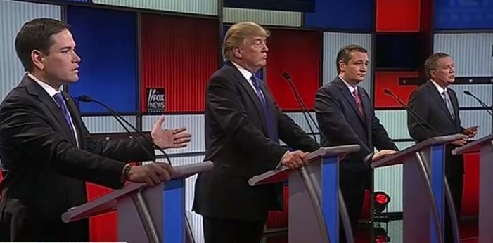 Republican Presidential Candidates Vow to Back Trump During Debate Filled With Insults, Sexual Innuendo