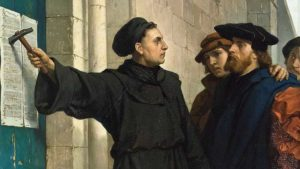 An 1872 painting of Luther nailing his 95 thesis to the doors of All Saints' Church