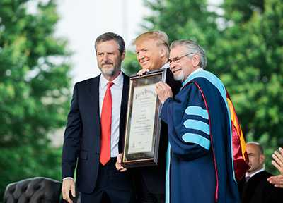 Jerry Falwell Jr., Who is 'Convinced' Trump is 'Christian,' Bestows Liberty University Doctorate on President