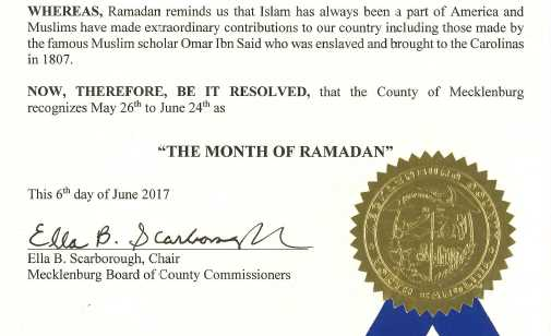 North Carolina County Approves Resolution Recognizing 'Month of Ramadan'