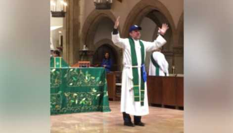 Episcopal Priest Leads Singing of 'Take Me Out to the Ball Game' During Sunday Services