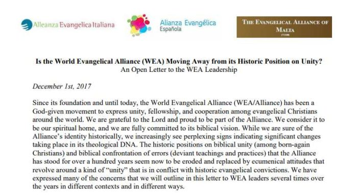 Evangelical Alliances of Italy, Spain, Malta Denounce 'Ecumenical Agenda' of WEA in Open Letter