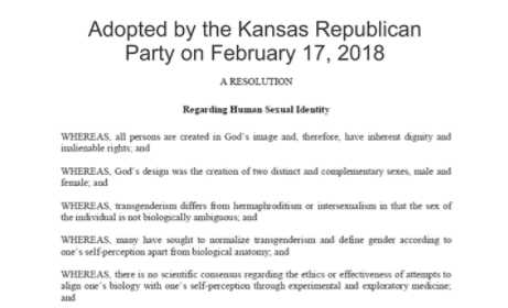Kansas Republican Party Votes to 'Affirm God's Design for Gender'