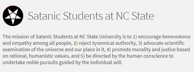Non-Theistic 'Satanic Students' Group Formed at North Carolina State University