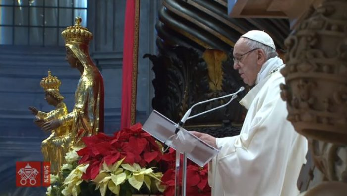 'Pope Francis' Asserts During New Year's 'Mary, Mother of God' Mass: She Is 'Our Life, Our Sweetness and Our Hope'