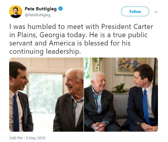 Pete Buttigieg Attends Jimmy Carter's Sunday School Class With 'Husband,' Asked to Read From Bible
