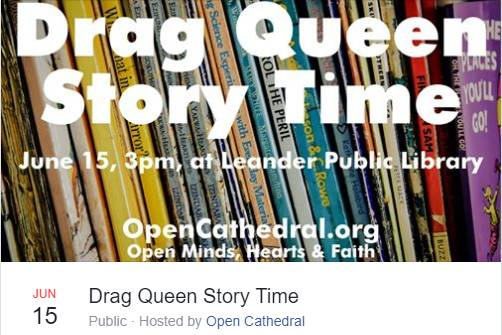 Apostate Texas 'Church' to Host 'Drag Queen Story Time' at Public Library After City Officials Cancel Event