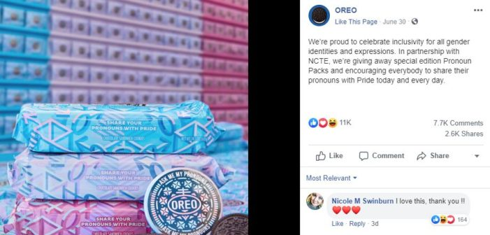 Oreo Partners With 'Transgender' Group to Give Away 'Pronoun Pack' Cookies at NYC Pride Event