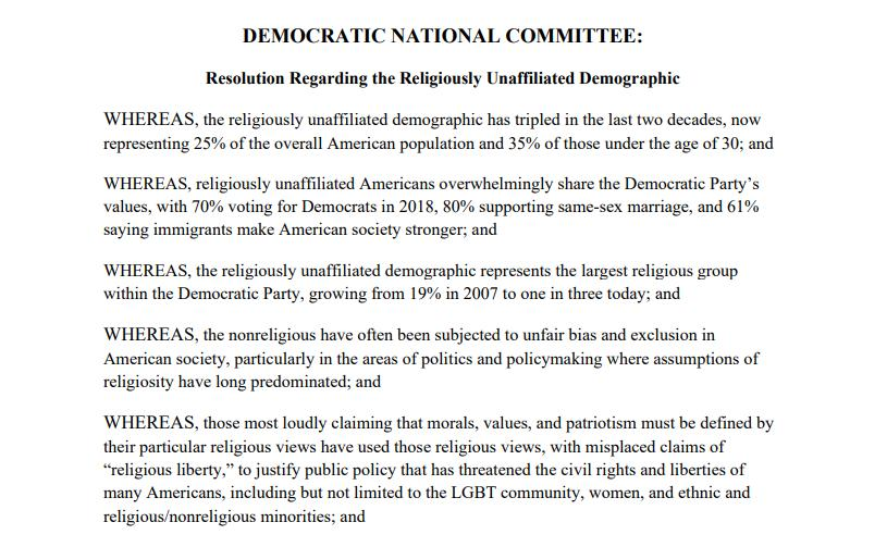 Democratic Party Passes Resolution Embracing 'Religiously