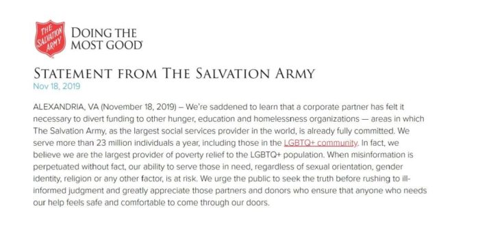 Salvation Army Boasts of Service to 'LGBTQ Community' After Chick-fil-A Discontinues Donations to Refocus Giving