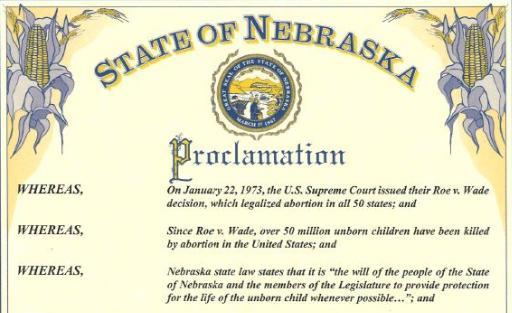 Neb. Governor Declares Statewide Day of Prayer on 47th Year of Roe v. Wade
