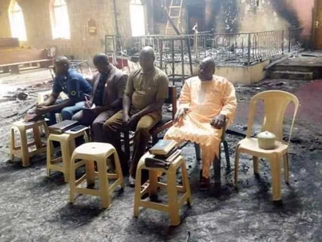 Nigerian Elders Hold Service in Burned Church After Boko Haram Lays Waste to Village