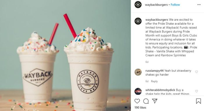 Wayback Burgers Offering Rainbow Sprinkle 'Pride Shakes' for Pride Month, Funds to Support Affirming Youth Org.
