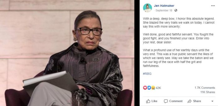 Jen Hatmaker, Amy Grant Praise Justice Ginsburg: 'Well Done, Good and Faithful Servant,' 'Thank You, Ruth'