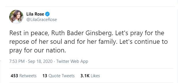 Pro-Life Catholics on Ginsburg: 'Pray for the Repose of Her Soul,' That God 'Welcome Her to Eternal Life'