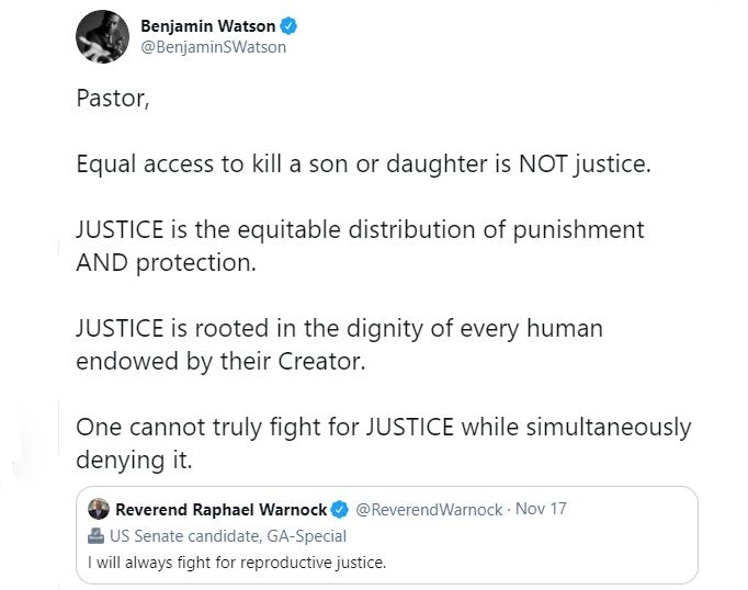 Killing Children Is Not Justice: Benjamin Watson Pushes Back Against Candidate's 'Reproductive Justice' Tweet