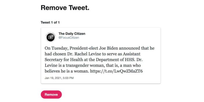 Website Locked Out of Twitter Account for Stating Biden Nominee Is 'Man Who Believes He Is Woman'